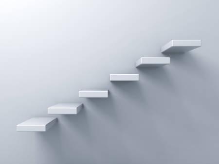 Marches d'un escalier concept abstrait sur fond blanc mur