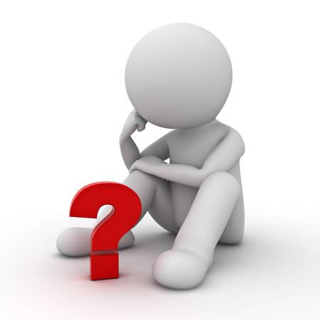 3D uomo seduto e pensare con il punto interrogativo rosso su sfondo bianco Archivio Fotografico