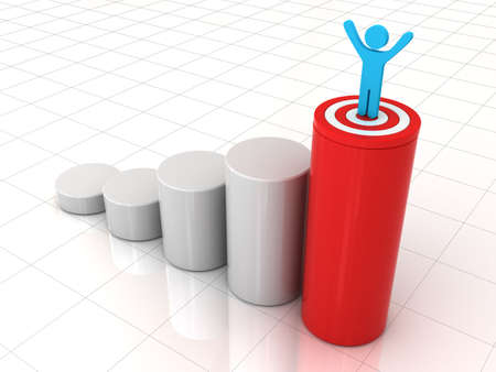 highest: Business man standing with arms wide open on top of growth business red graph with target over white background, business concept Stock Photo