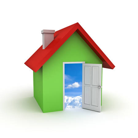 3d simple house model with door open to sky isolated over white background photo