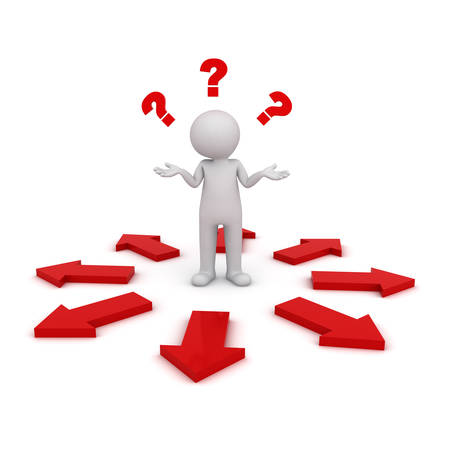 confused guidance: 3d man thinking and confusing with many red arrows showing different directions wondering which way to go isolated over white background