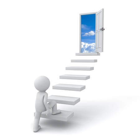 First step to success concept , 3d man stepping up to open door to the sky over white background Imagens