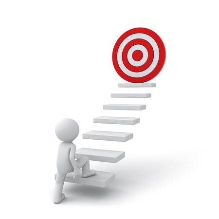3 d ビジネス男白地にステップの上に彼の成功の目標へのステップ アップ 写真素材