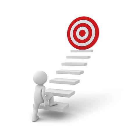 Homme d'affaires 3d intensification de son but succès sur des étapes sur fond blanc Banque d'images