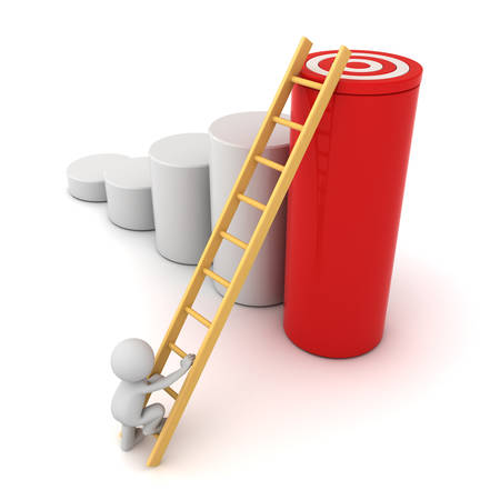 3d man climbing ladder to the goal target on the top of red cylinder graph isolated over white background, Business concept Stock Photo
