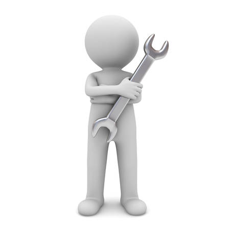 3d man standing with arms crossed and holding wrench for maintenance services isolated over white background photo