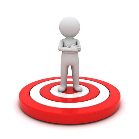 3d man standing with arms crossed on red target isolated over white background