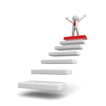 zenith: Success concept, 3d business man standing with arms wide open on top of steps isolated over white background Stock Photo