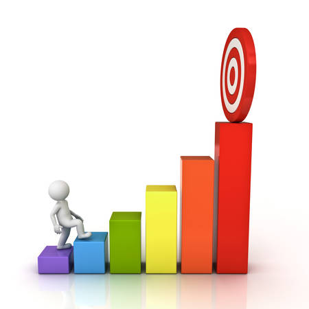 反射と白い背景の上に分離されたビジネス グラフの上に彼の成功した目的のターゲットへのステップ アップ 3 d 男