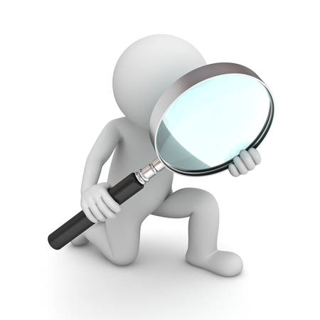 3d man holding magnifying glass isolated over white background Stockfoto