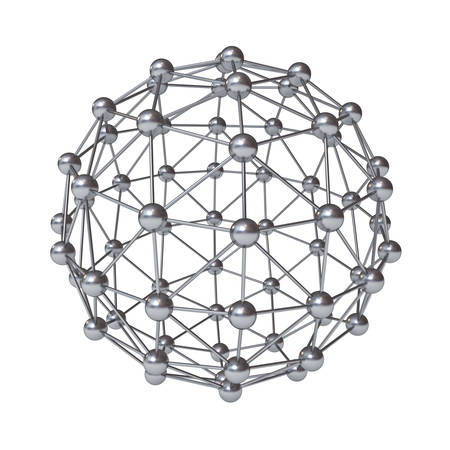 3d molecular structure geometry model isolated over white background with reflection photo