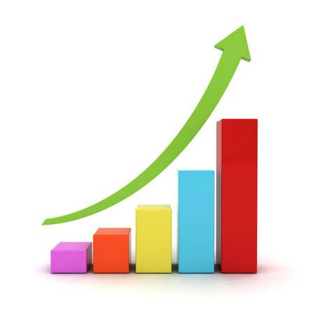 녹색 상승 화살표와 함께 비즈니스 그래프 차트는 흰색 배경 위에 절연 스톡 콘텐츠