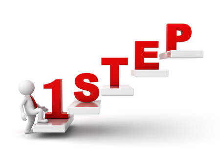 3d man intensivering voor succes, Eerste stap abstract begrip op een witte achtergrond