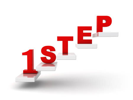 first step: Erster Schritt abstraktes Konzept �ber wei�em Hintergrund