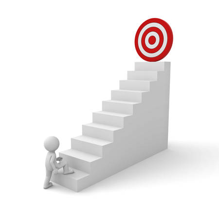 3d business man stepping up to his successful goal on top of the stairs over white background photo