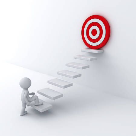 3d business man stepping up to his successful goal on top of the steps over white wall background photo