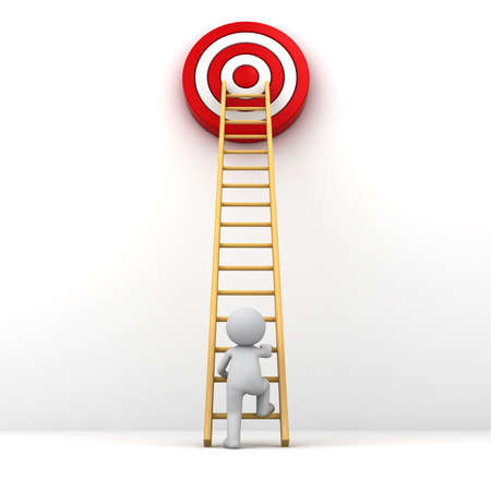 setting goals: 3D Man climbing ladder to the red goal target , Business goal concept Stock Photo