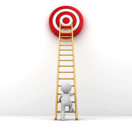 3D man het beklimmen van de ladder naar het rode doel doel, Business doel concept