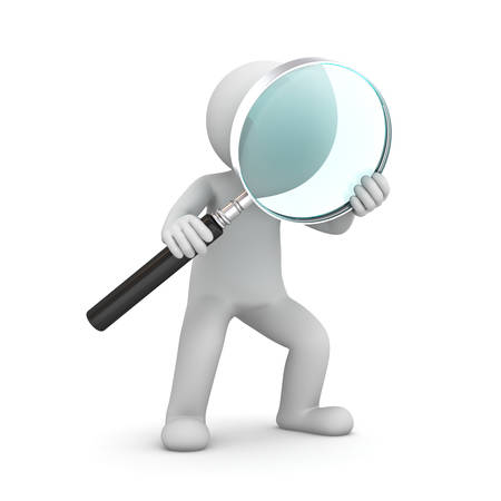 focus concept: 3d man standing and holding magnifying glass isolated over white background