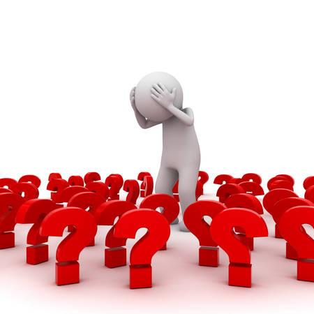 confundido: Estresado hombre 3d que se coloca entre los signos de interrogaci�n de color rojo sobre fondo blanco, Demasiados problemas concepto
