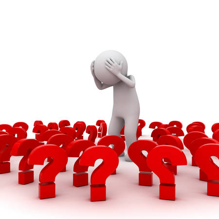 stress: Stressed 3d man standing amongst red question marks over white background , Too many problems concept Stock Photo
