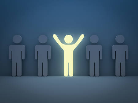 Stand out from the crowd and different concept , Light man standing with arms wide open with other people