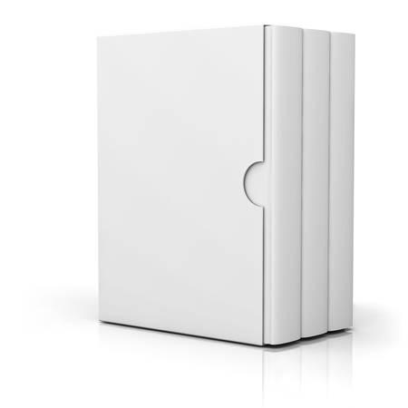 cubiertas: Tres libros con tapa de la caja en blanco de pie aislado en fondo blanco con la reflexi�n