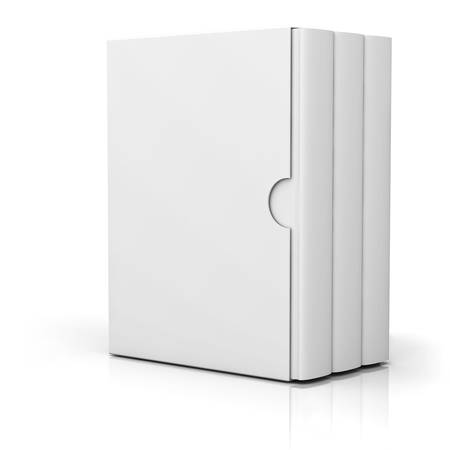 Trzy książki z pustą pokrywy skrzynki stojącej na białym tle z refleksji