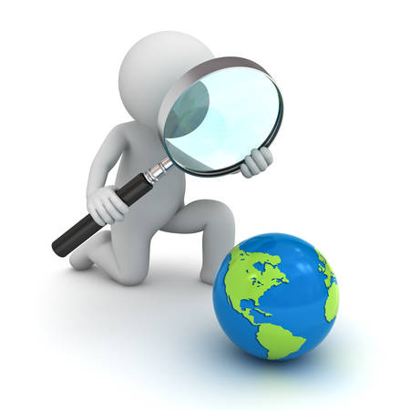 kneeling: 3d man holding magnifying glass and looking at blue globe map isolated over white background Stock Photo