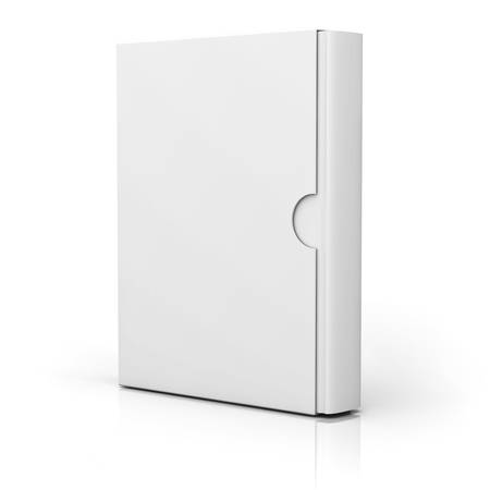 customized: Book with blank box cover standing isolated over white background with reflection