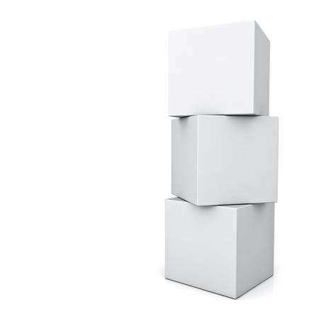 three objects: Blank 3d concept boxes standing isolated on white background with reflection
