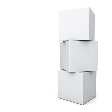 Boîtes concept 3d blanc debout isolé sur fond blanc avec la réflexion Banque d'images - 32231064