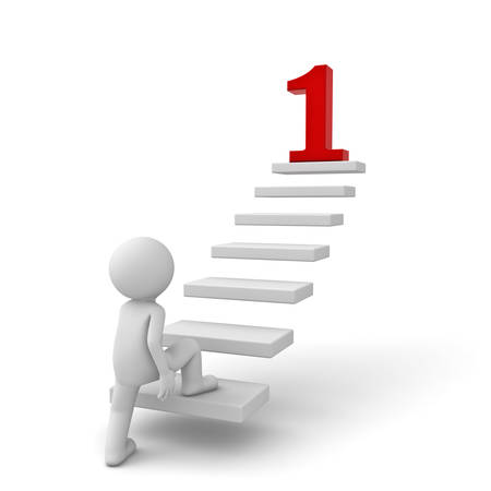 3d business man stepping up to his red number 1 goal on top of the steps over white background photo