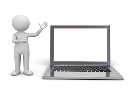 3d man presenting blank laptop monitor isolated over white background photo