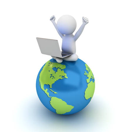 isolated over white: 3d man sitting on blue globe map and using laptop computer isolated over white background