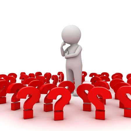 Stressato 3D uomo in piedi e pensando tra punti interrogativi rossi su sfondo bianco, troppi problemi concetto