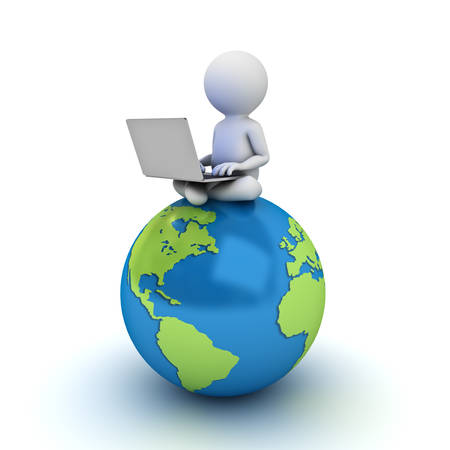 3d man sitting on blue globe map and using laptop computer isolated over white background photo