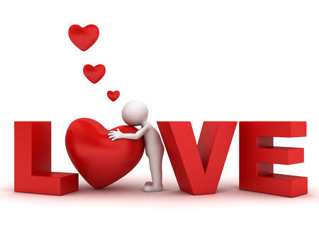 3d man hugging red heart in word love isolated over white background photo