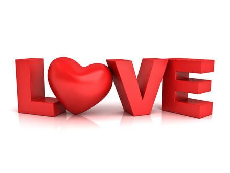 Rood hart in woord liefde geïsoleerd via witte achtergrond met reflectie