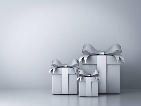 실버 리본 활과 빈 흰 벽 배경 추상 선물 상자