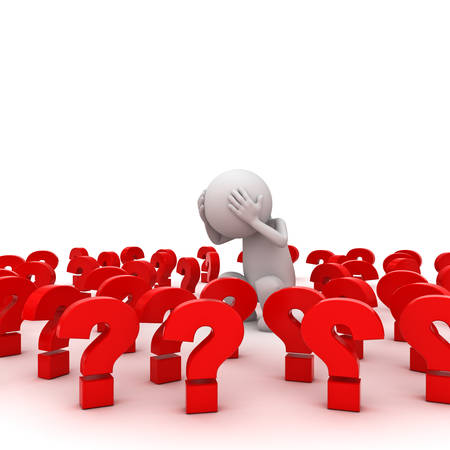 Stressed 3d man standing amongst red question marks over white background , Too many problems concept Foto de archivo