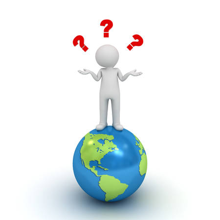 unsuspecting: 3d man standing on blue globe and having no idea with red question marks above his head isolated over white background Stock Photo
