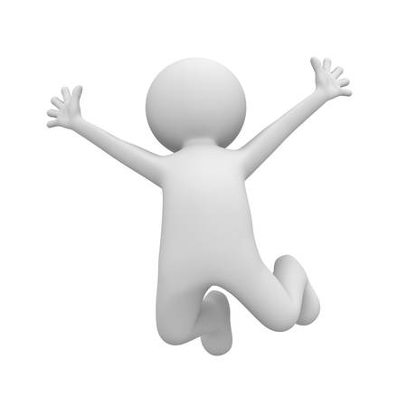 Very happy 3d man jumping isolated over white background photo