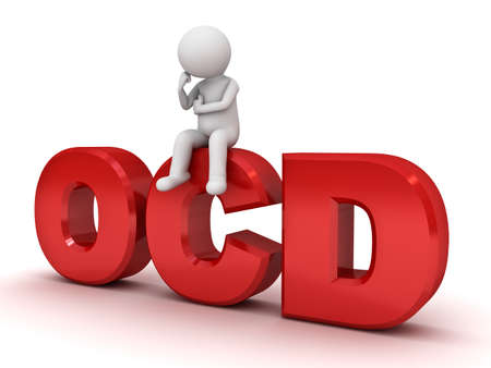 obsessive compulsive: 3d man sitting on red ocd text or Obsessive compulsive disorder anxiety symptoms concept