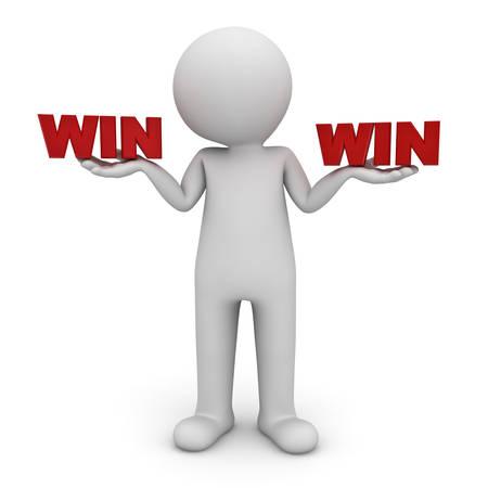 3d homme debout avec le rouge texte gagnant sur les deux mains isolés sur fond blanc