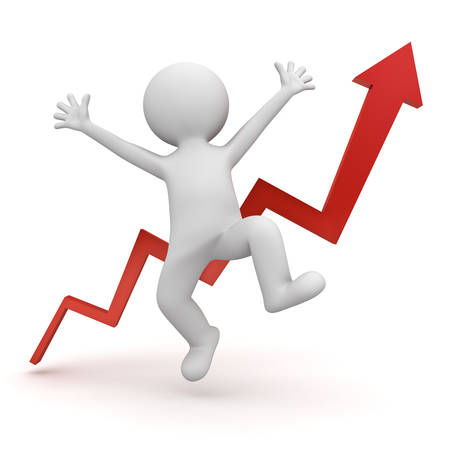 happy 3d: Very happy 3d man celebrating concept isolated over white background with red growth graph arrow