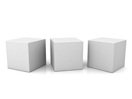 Blank 3d concept boxes isolated on white background with reflection Stockfoto