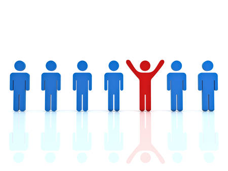 standing out: Stand out from the crowd and different concept , Red man standing with arms wide open with other blue people over white background with reflection