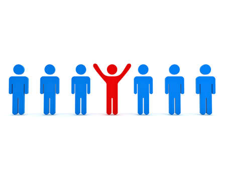 stand out: Stand out from the crowd and different concept , Red man standing with arms wide open with other blue people over white background