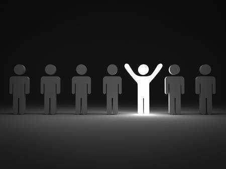 Stand out from the crowd and different concept , One light man standing with arms wide open with other people
